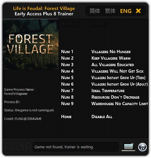 Life is Feudal: Forest Village: Трейнер/Trainer (+8) [Update: 01.09.16] {FLiNG}