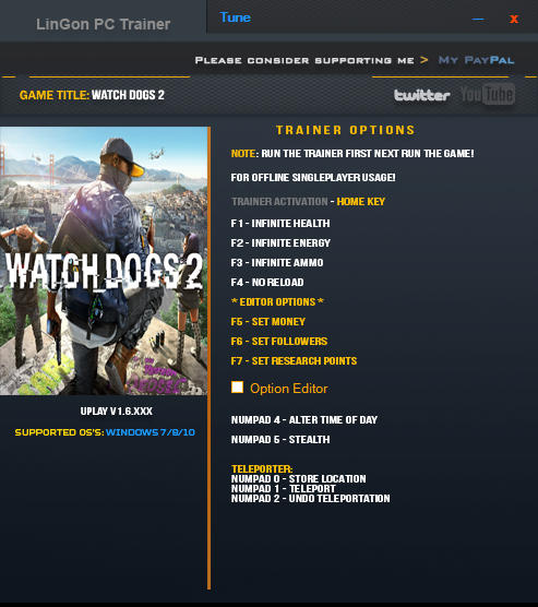 Watch_Dogs 2: Трейнер/Trainer (+11) [1.6: Update 10.12.2016] {LinGon}