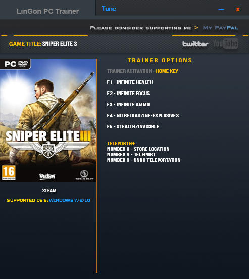 Sniper Elite 3: Трейнер/Trainer (+7) [1.15a] {LinGon} - Update: 17.01.2017
