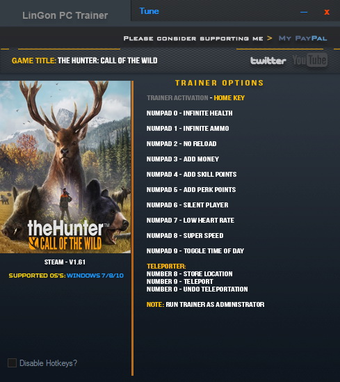 The Hunter: Call of the Wild: Трейнер/Trainer (+12) [1.61] {LinGon}