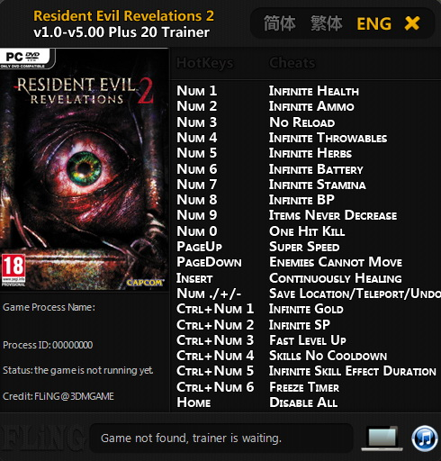 Resident Evil: Revelations 2 ~ Episode 1-4: Трейнер/Trainer (+20) [1.0 - 5.0] {FLiNG}