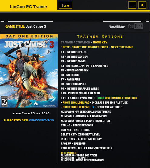Just Cause 3: Трейнер/Trainer (+23) [1.021: Updated: 22 Jan 2016 - Updated for patch 20 Jan 2016] ] {LinGon}