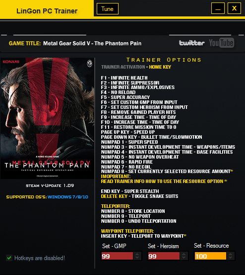 Metal Gear Solid V: The Phantom Pain: Трейнер/Trainer (+26) [1.09: Updated Version] {LinGon}